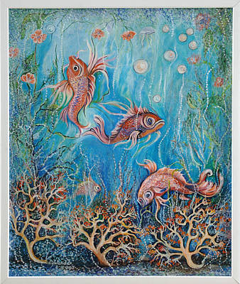 Art Print featuring the painting Fish In A Pond by Yolanda Rodriguez
