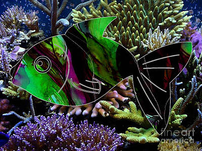 Tropical Fish Mixed Media - Fish In The Coral Reef by Marvin Blaine