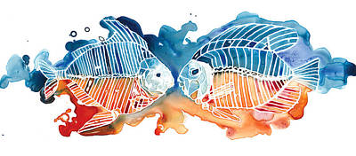 Complimentary Painting - Fish Kiss by Mike Lawrence