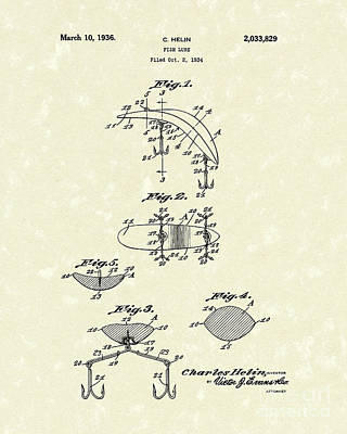 Fish Lure 1936 Patent Art Art Print