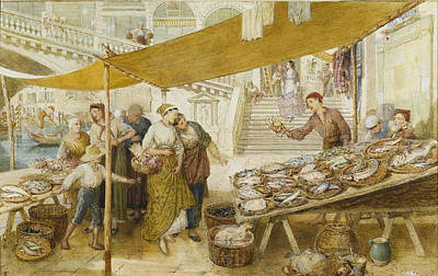 Myles Birket Foster Digital Art - Fish Market On The Steps Of The Rialto by Myles Birket Foster