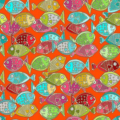 Dot Drawing - Fish Orange by Sharon Turner