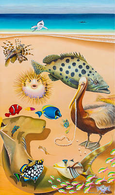 Triggerfish Painting - Fish Out Of Water by William T Templeton