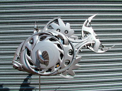 Hubcap Wall Art - Photograph - Fish Sculpture by Www.hubcapcreatures.com/science Photo Library