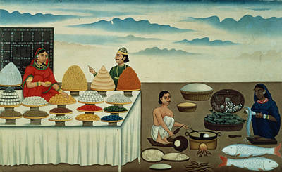 Fish Seller, Sweetmeat Maker And Sellers With Their Wares, Patna, C.1870 Gouache On Paper Art Print by Shiva Dayal Lal