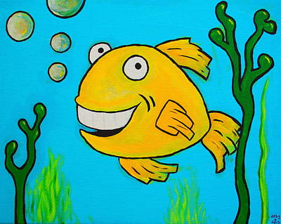 Whimsical Painting - Fish by Sheep McTavish