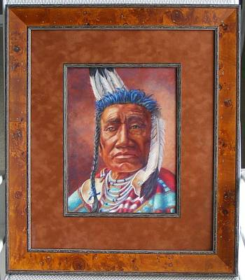 Painting - showing the frame on Fish Shows Native Am. Indian by Denise Horne-Kaplan