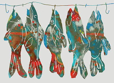 White Cat Art Mixed Media - Fish Stylised Drawing Art Poster by Kim Wang
