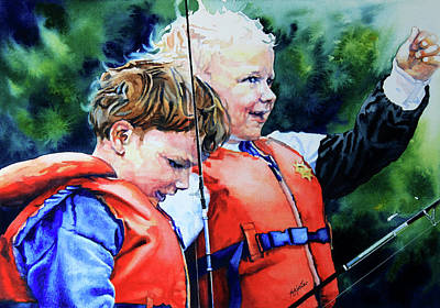 Animals Paintings - Fish Tales by Hanne Lore Koehler