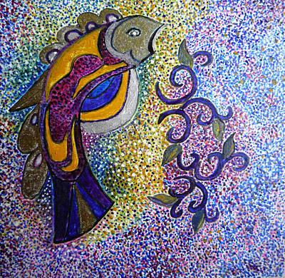 Egg Tempera Painting - Fish Totem by Catherine Meyers
