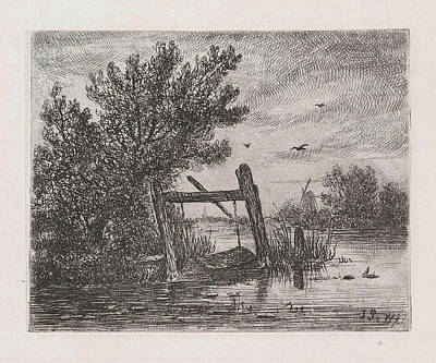 Fish Trap In A Wooded Waterfront, Johannes Pieter Van Art Print