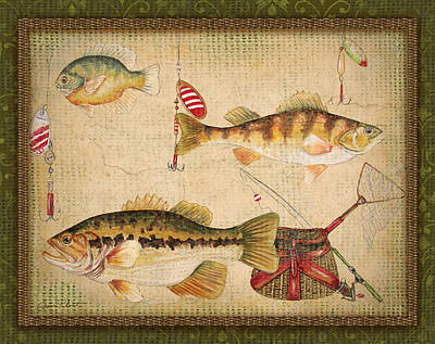 Painting - Fish Trio-a-greenborder by Jean Plout