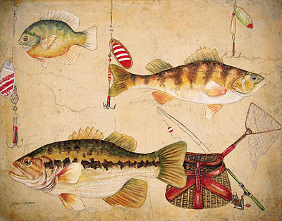 Net Painting - Fish Trio-a by Jean Plout