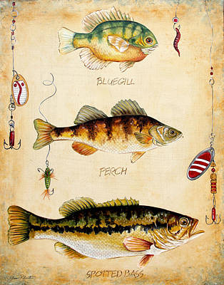 Trout Painting - Fish Trio-c by Jean Plout