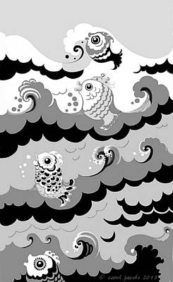 Digital Art - Fish Waves by Carol Jacobs