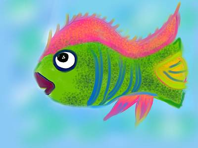 Art Print featuring the digital art Fish Wish by Christine Fournier