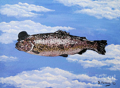 Dadaism Painting - Fish With Bowler by Bela Manson