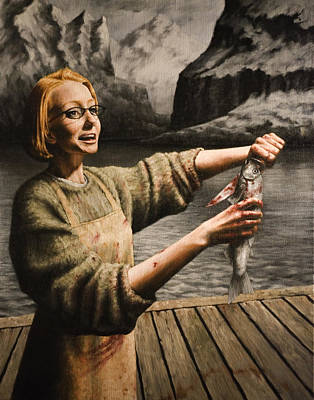 Fjord Painting - Fish Woman by Mark Zelmer
