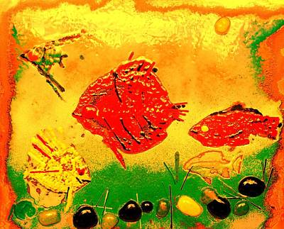 Enameled Copper Mixed Media - Fish World by FS Boric