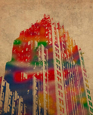 Mixed Media - Fisher Building Iconic Buildings Of Detroit Watercolor On Worn Canvas Series Number 4 by Design Turnpike