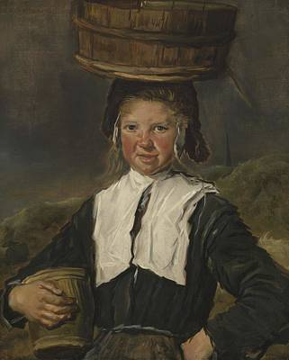 Fisher Girl Oil On Canvas Art Print by Frans Hals