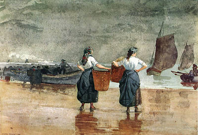 Abstract Oil Paintings Color Pattern And Texture - Fisher Girls On The Beach by Winslow Homer