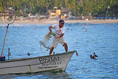 Fisher Man Throwing Net Print by Camilla Fuchs