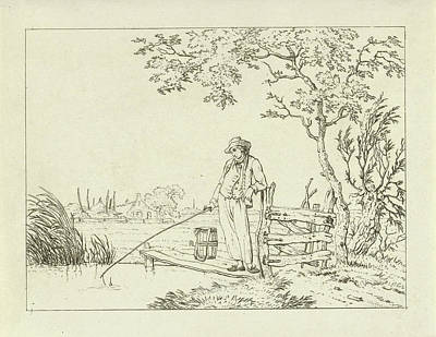 Wooden Platform Drawing - Fisher On Deck, Hermanus Fock by Hermanus Fock