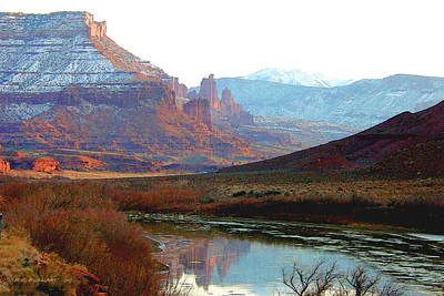 Winter Painting - Fisher Towers - Moab Utah by Roger Burkart