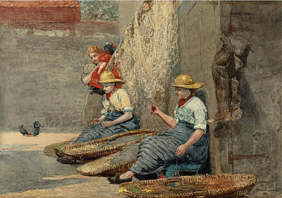 Fixing Painting - Fishergirls Coiling Tackle by Winslow Homer