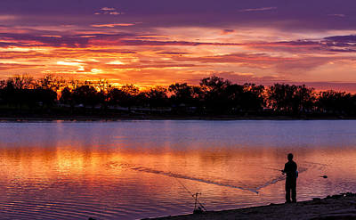 Reflection On Pond Photograph - Fisherman At Sunrise by Teri Virbickis