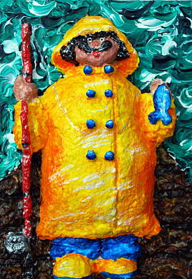 Chubbyart Relief - Fisherman Bob by Alison  Galvan