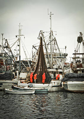 Photograph - Fisherman Crew Fixing Nets On Fishing Boat by Brch Photography