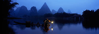 Lei Photograph - Fisherman Fishing At Night, Li River by Panoramic Images