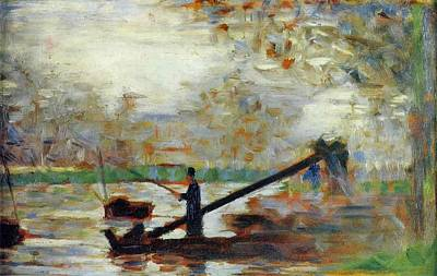 Pointilist Painting - Fisherman In A Moored Boat by Georges Seurat