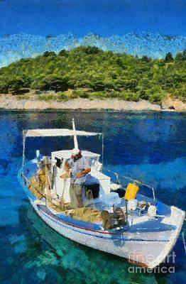Fishes Painting - Fisherman In Asos Village by George Atsametakis