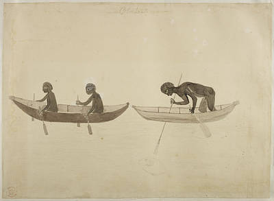 Indian Ink Photograph - Fisherman In Small Wooden Canoes by British Library