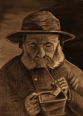 Phil Clark Drawing - Fisherman With Souwester Pipe And Coal Pan by Phil Clark