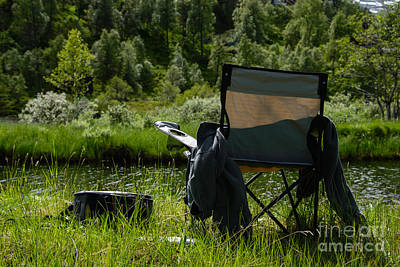 Water Photograph - Fisherman's Chair By A River by Gry Thunes
