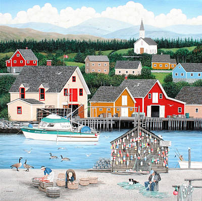 Canadian Geese Painting - Fisherman's Cove by Wilfrido Limvalencia