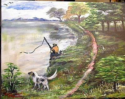 Painting - Fisherman's Dog by M Bhatt