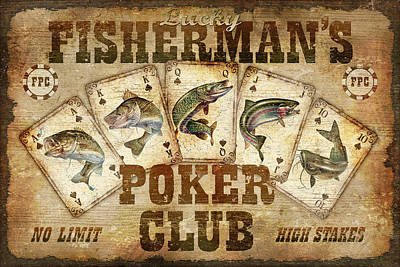 Catfish Painting - Fishermans Poker Club by JQ Licensing