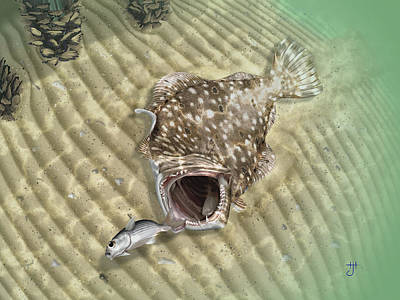 Digital Art - Fisherman's Post Flounder by Hayden Hammond