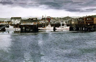 Monterey Wharf Painting - Fisherman's Wharf by Tom Wooldridge