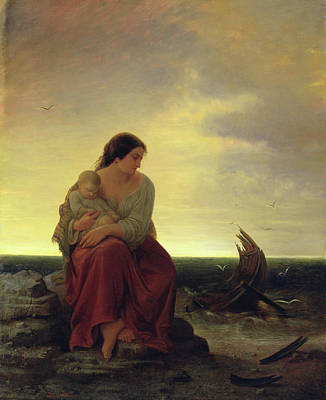Lost At Sea Photograph - Fishermans Wife Mourning On The Beach Oil On Canvas by Julius Muhr