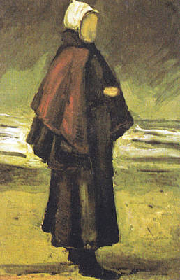 Rain Hat Digital Art - Fishermans Wife On The Beach by Vincent Van Gogh