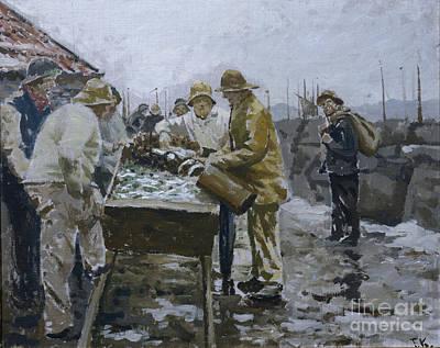 Fish Cart Painting - Fishermen Around The Herring Cart by Fredrik Kolstoe
