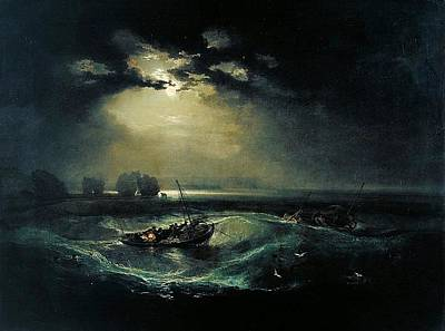 Romanticism Painting - Fishermen At Sea 1796  by J M W Turner