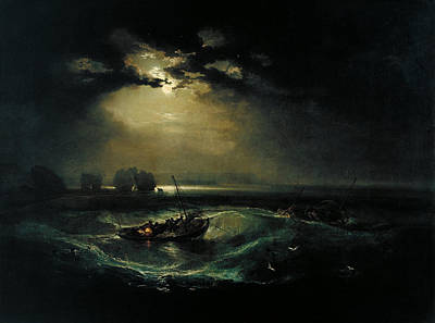 Beautiful Scenery Painting - Fishermen At Sea by Celestial Images