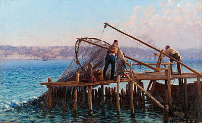 Bringing Painting - Fishermen Bringing In The Catch by Fausto Zonaro